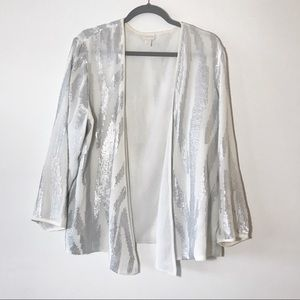 Chico's Size 3 Silver Sequined Jacket Wedding Wear